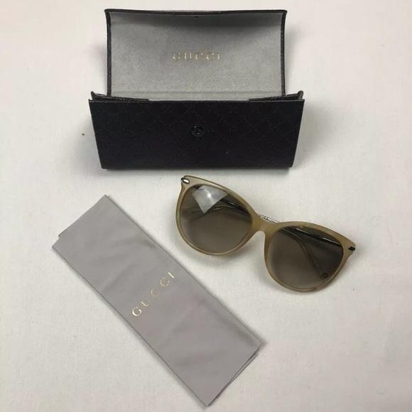 Gucci Bamboo Arm Sunglasses Beige Cat Eye